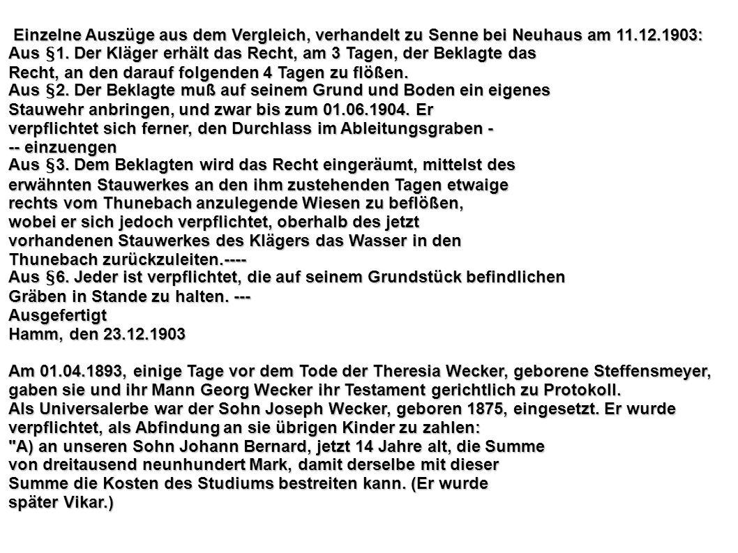 Einzelne Auszüge aus dem Vergleich, verhandelt zu Senne bei Neuhaus am 11.12.1903: Einzelne Auszüge aus dem Vergleich, verhandelt zu Senne bei Neuhaus