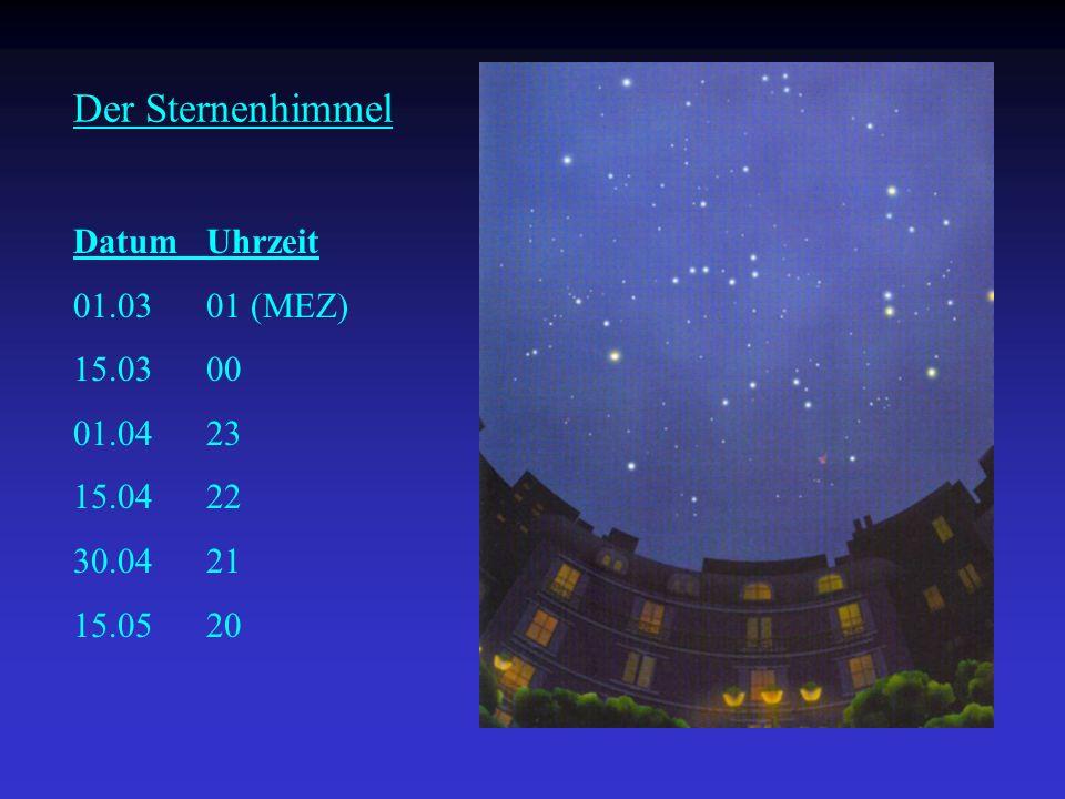 Der Sternenhimmel Datum Uhrzeit 01.03 01 (MEZ) 15.03 00 01.04 23 15.04 22 30.04 21 15.05 20