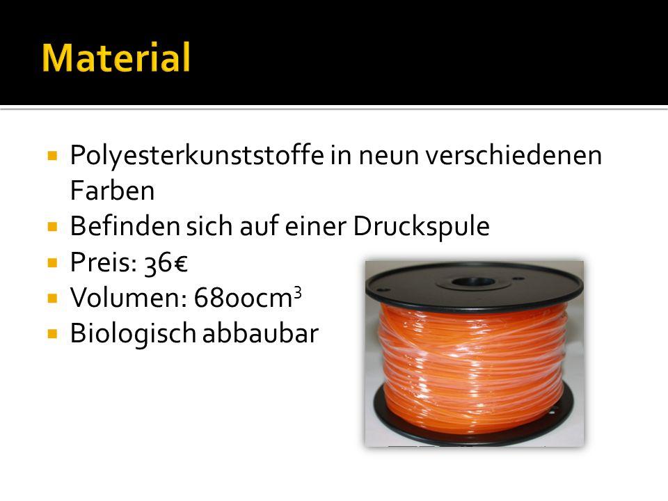 Polyesterkunststoffe in neun verschiedenen Farben Befinden sich auf einer Druckspule Preis: 36 Volumen: 6800cm 3 Biologisch abbaubar
