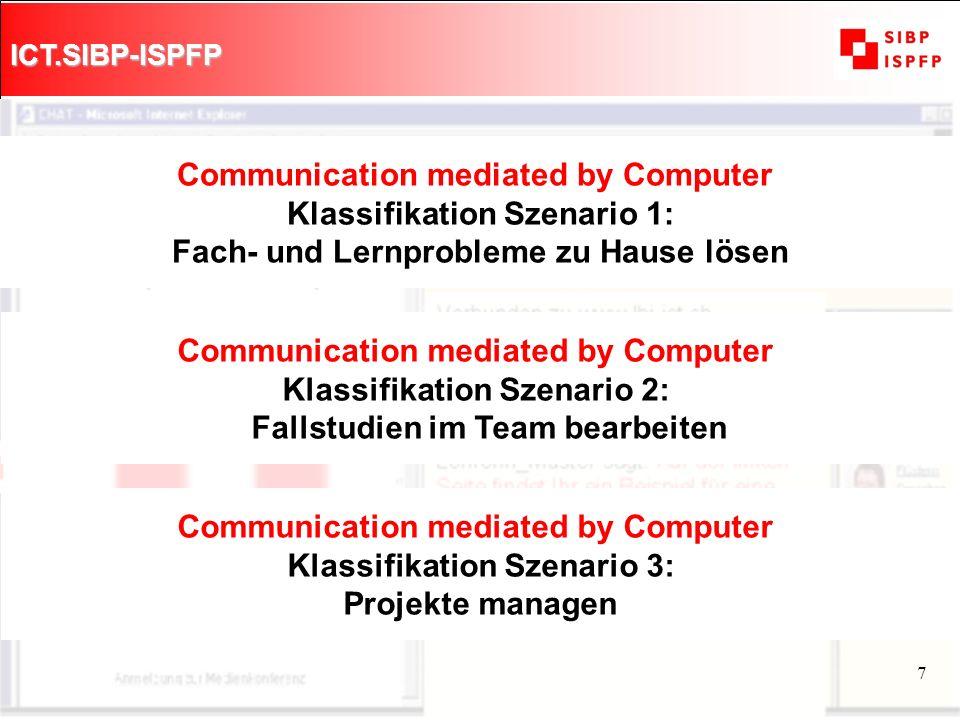 ICT.SIBP-ISPFP 8 Ausschnitt aus einem Modul CMC-Didaktik Von der Lehrperson geführter Chat (Lehrlinge & LehrerIn) Projekt Lehrlingszeitung Tagesordnung 1.
