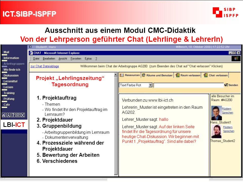 ICT.SIBP-ISPFP 8 Ausschnitt aus einem Modul CMC-Didaktik Von der Lehrperson geführter Chat (Lehrlinge & LehrerIn) Projekt Lehrlingszeitung Tagesordnun