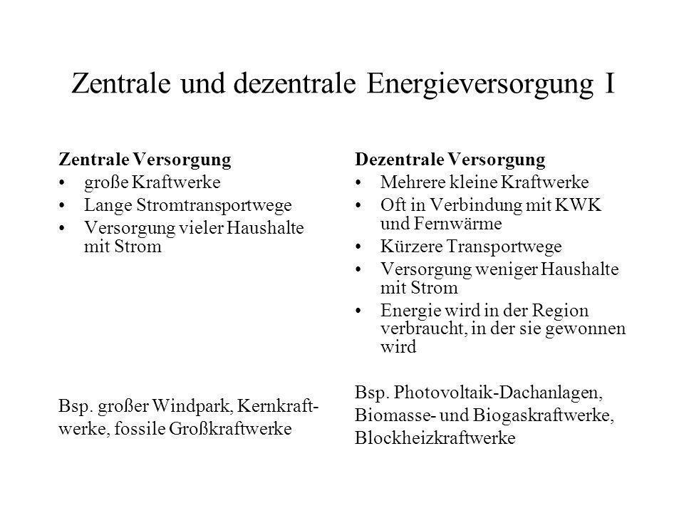 Vor- und Nachteile Vorteile: Strom und Wärme werden beide genutzt Verringerung des Brennstoffverbrauchs und der CO 2 - Emission Transportverluste werden vermieden Nachteile: Probleme mit Zugang zum Elektrizitätsmarkt Höhere Installationskosten/Kilowatt bei Großkraftwerk