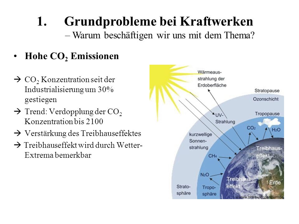 Gliederung 1.Grundprobleme bei Kraftwerken 2.Möglichkeiten zur Effizienzsteigerung Funktion eines Kraftwerkes Wirkungsgrad Erhöhung des Wirkungsgrades: größere Temperaturdifferenz GuD-Kraftwerke Kraft-Wärme-Kopplung (KWK) - Fernwärme Zentrale und dezentrale Versorgung