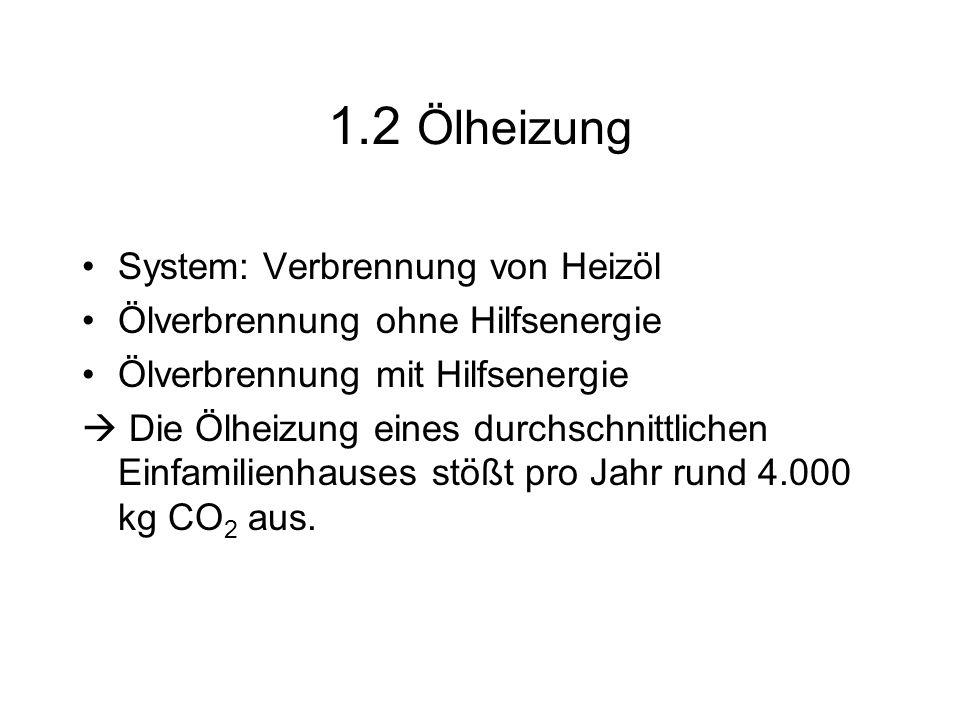 1.2 Ölheizung System: Verbrennung von Heizöl Ölverbrennung ohne Hilfsenergie Ölverbrennung mit Hilfsenergie Die Ölheizung eines durchschnittlichen Ein