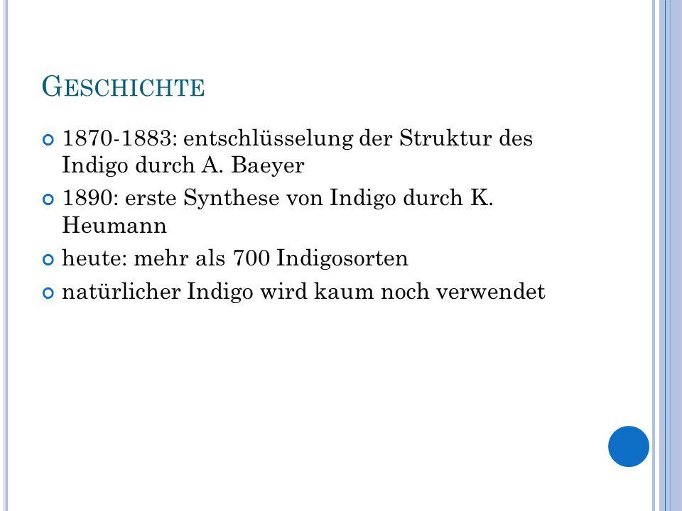 G ESCHICHTE 1870-1883: entschlüsselung der Struktur des Indigo durch A. Baeyer 1890: erste Synthese von Indigo durch K. Heumann heute: mehr als 700 In