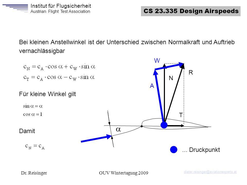 Institut für Flugsicherheit Austrian Flight Test Association Dr. ReisingerOUV Wintertagung 2009 N T A W R... Druckpunkt Bei kleinen Anstellwinkel ist