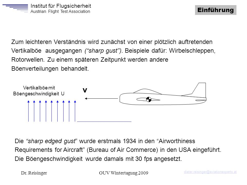 Institut für Flugsicherheit Austrian Flight Test Association Dr. ReisingerOUV Wintertagung 2009 Zum leichteren Verständnis wird zunächst von einer plö
