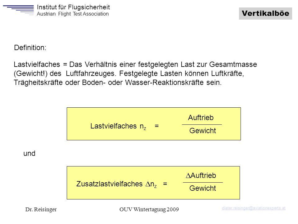 Institut für Flugsicherheit Austrian Flight Test Association Dr. ReisingerOUV Wintertagung 2009 Lastvielfaches n z = Auftrieb Gewicht Zusatzlastvielfa
