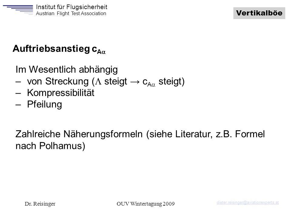 Institut für Flugsicherheit Austrian Flight Test Association Dr. ReisingerOUV Wintertagung 2009 Vertikalböe Auftriebsanstieg c A Im Wesentlich abhängi