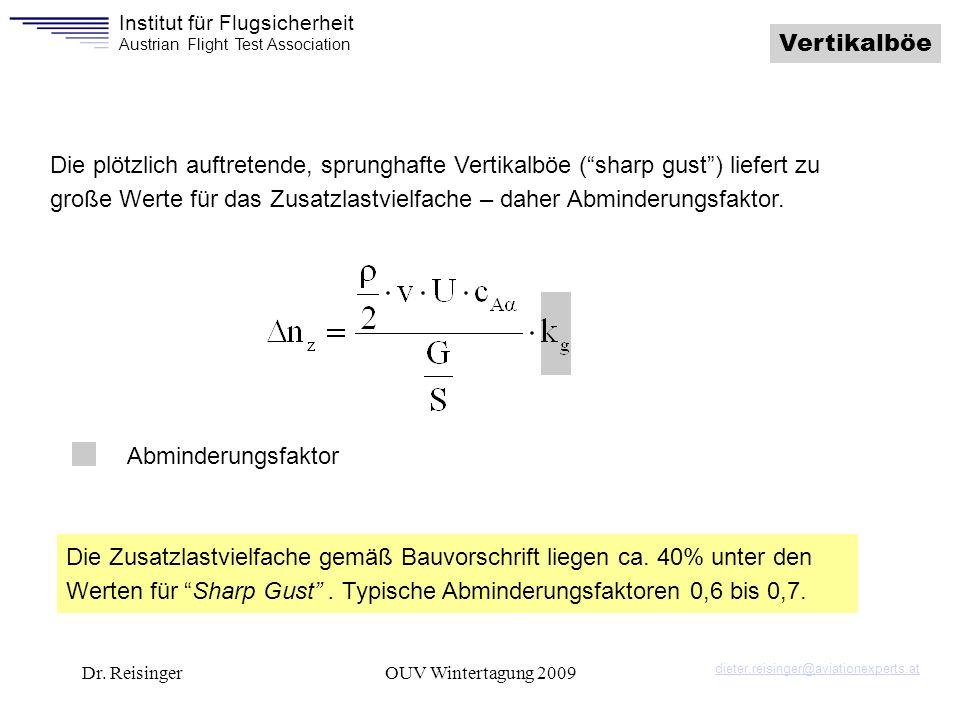 Institut für Flugsicherheit Austrian Flight Test Association Dr. ReisingerOUV Wintertagung 2009 Die plötzlich auftretende, sprunghafte Vertikalböe (sh