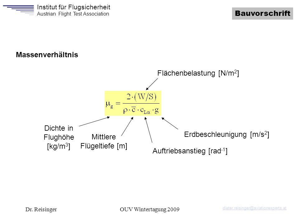 Institut für Flugsicherheit Austrian Flight Test Association Dr. ReisingerOUV Wintertagung 2009 Bauvorschrift Massenverhältnis Flächenbelastung [N/m 2
