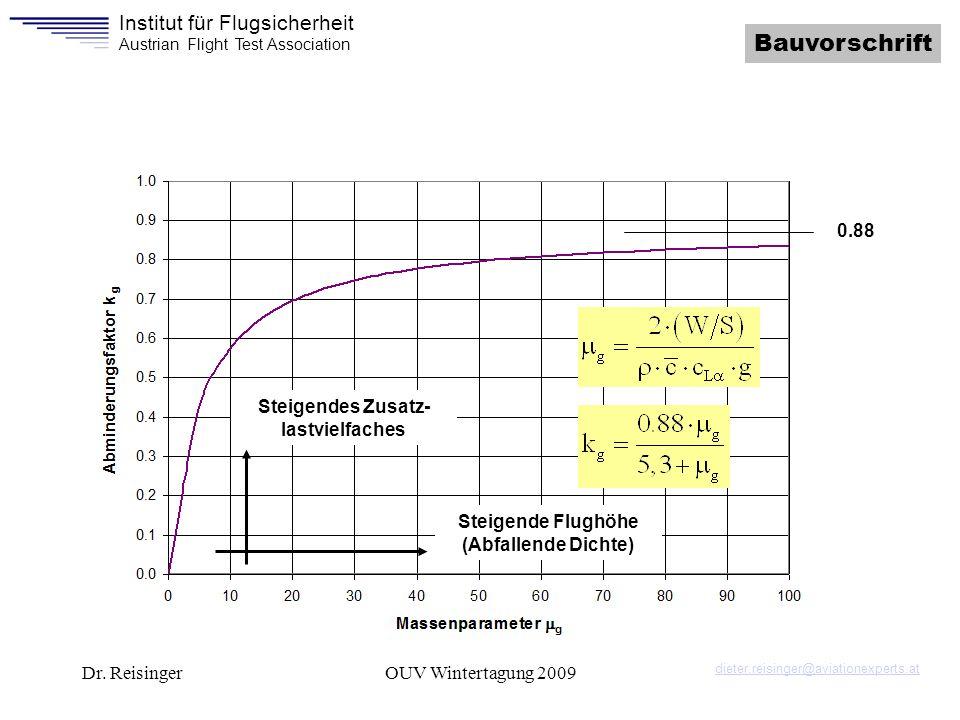Institut für Flugsicherheit Austrian Flight Test Association Dr. ReisingerOUV Wintertagung 2009 Bauvorschrift Steigende Flughöhe (Abfallende Dichte) S