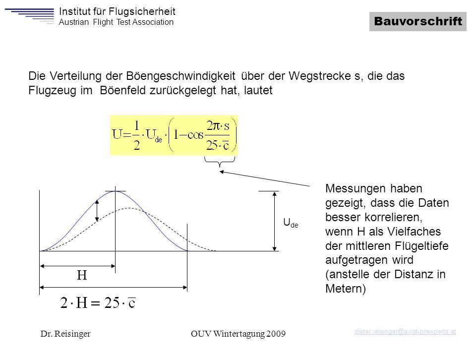 Institut für Flugsicherheit Austrian Flight Test Association Dr. ReisingerOUV Wintertagung 2009 Bauvorschrift Die Verteilung der Böengeschwindigkeit ü