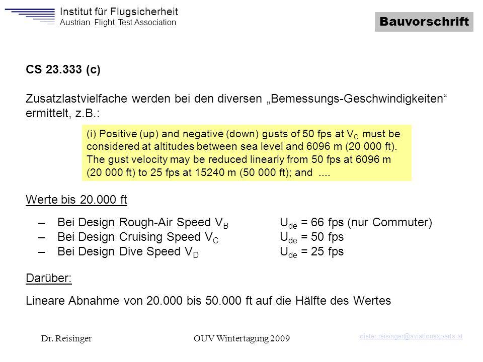 Institut für Flugsicherheit Austrian Flight Test Association Dr. ReisingerOUV Wintertagung 2009 Bauvorschrift CS 23.333 (c) Zusatzlastvielfache werden