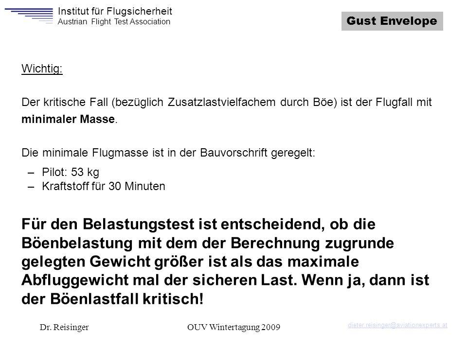 Institut für Flugsicherheit Austrian Flight Test Association Dr. ReisingerOUV Wintertagung 2009 Gust Envelope Wichtig: Der kritische Fall (bezüglich Z