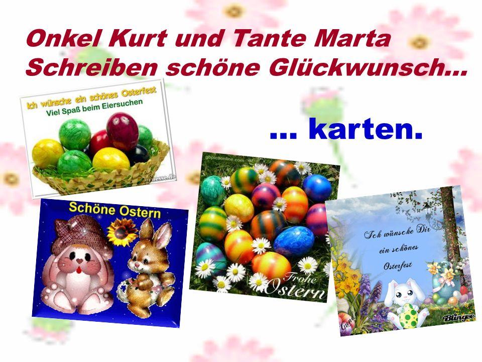 Onkel Kurt und Tante Marta Schreiben schöne Glückwunsch… … karten.
