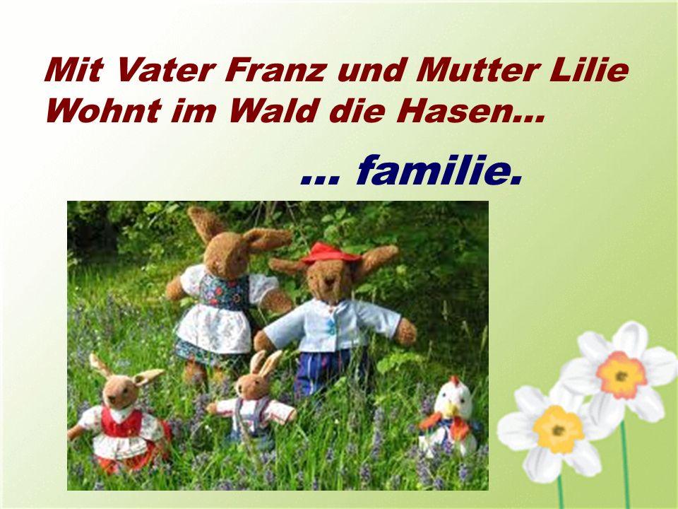 Mit Vater Franz und Mutter Lilie Wohnt im Wald die Hasen… … familie.