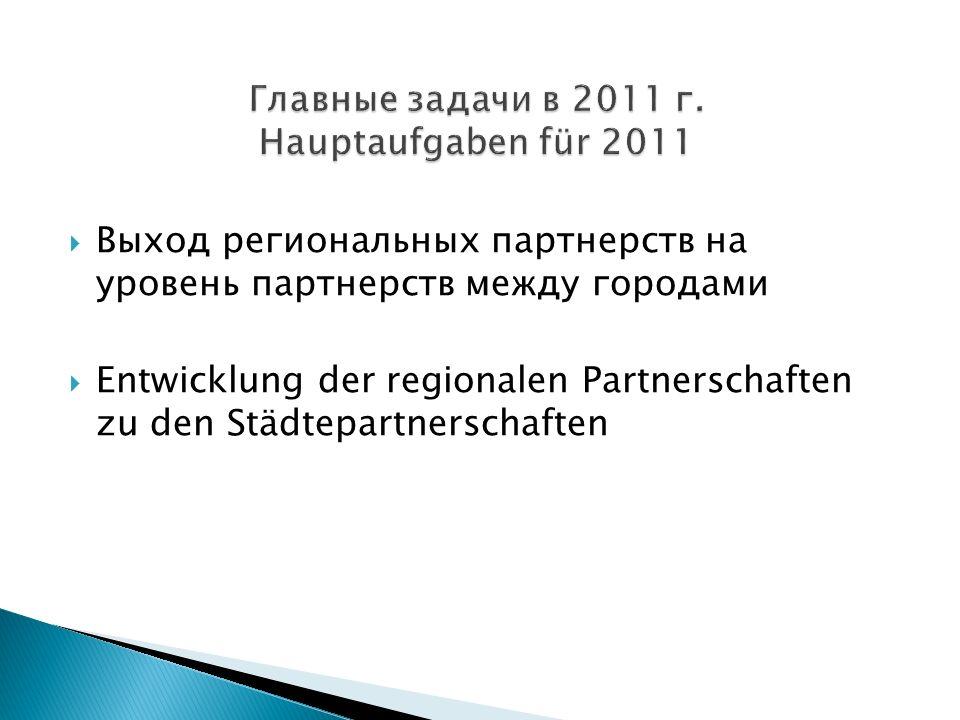 Выход региональных партнерств на уровень партнерств между городами Entwicklung der regionalen Partnerschaften zu den Städtepartnerschaften