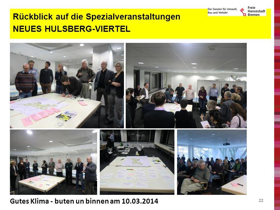 22 Rückblick auf die Spezialveranstaltungen NEUES HULSBERG-VIERTEL Gutes Klima - buten un binnen am 10.03.2014