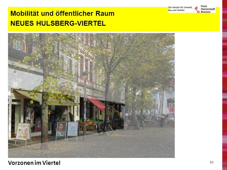32 Mobilität und öffentlicher Raum NEUES HULSBERG-VIERTEL Vorzonen im Viertel