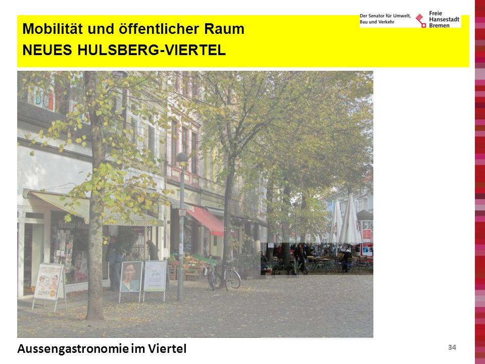 34 Mobilität und öffentlicher Raum NEUES HULSBERG-VIERTEL Aussengastronomie im Viertel