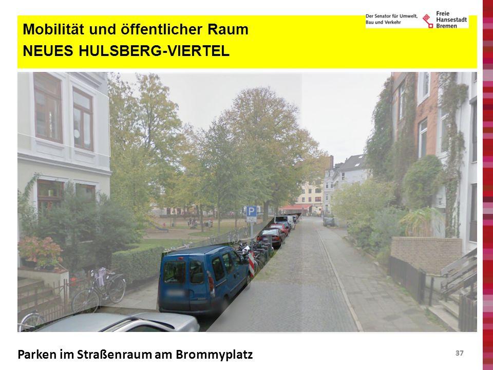 37 Mobilität und öffentlicher Raum NEUES HULSBERG-VIERTEL Parken im Straßenraum am Brommyplatz
