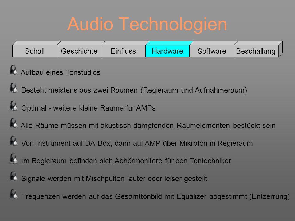 Audio Technologien Schall GeschichteEinflussHardwareSoftwareBeschallung Aufbau eines Tonstudios Besteht meistens aus zwei Räumen (Regieraum und Aufnah