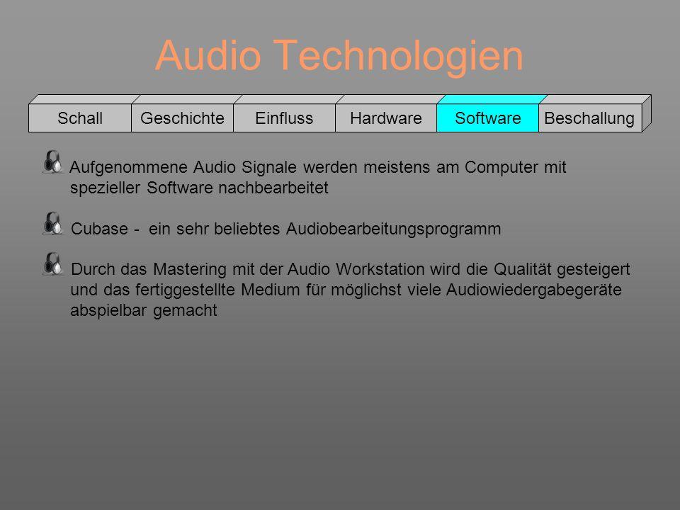 Audio Technologien Schall GeschichteEinflussHardwareSoftwareBeschallung Aufgenommene Audio Signale werden meistens am Computer mit spezieller Software
