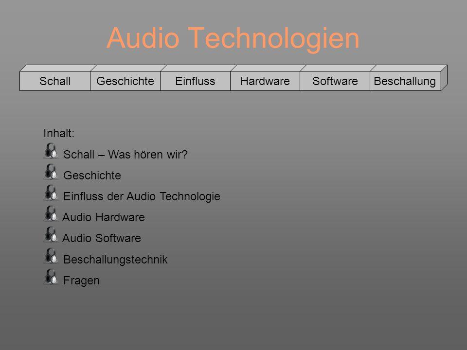Audio Technologien Schall GeschichteEinflussHardwareSoftwareBeschallung Infraschall->unterhalb 16 – 20Hz Hörschall->16 – 20Hz – 20kHz Ultraschall->20kHz – 1GHz Hyperschall->1GHz – 10THz