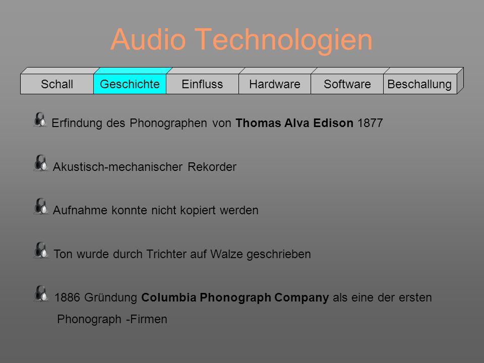 Audio Technologien Schall GeschichteEinflussHardwareSoftwareBeschallung Ab 1888 verwendet Edison spezielle Wachs Walzen (erheblich bessere Tonqualität) 1893 erfand Henri Lioret eine Zelluloid Walze Tonträger konnten aber immer noch nicht kopiert werden Columbia Wachswalze, ca.