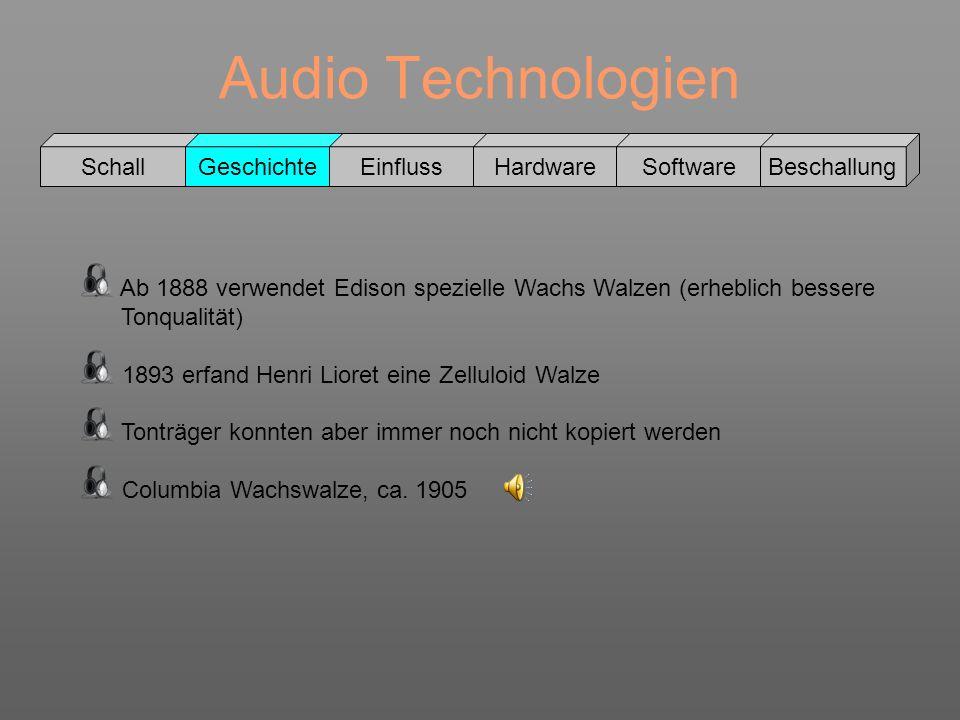 Audio Technologien Schall GeschichteEinflussHardwareSoftwareBeschallung Ab 1888 verwendet Edison spezielle Wachs Walzen (erheblich bessere Tonqualität