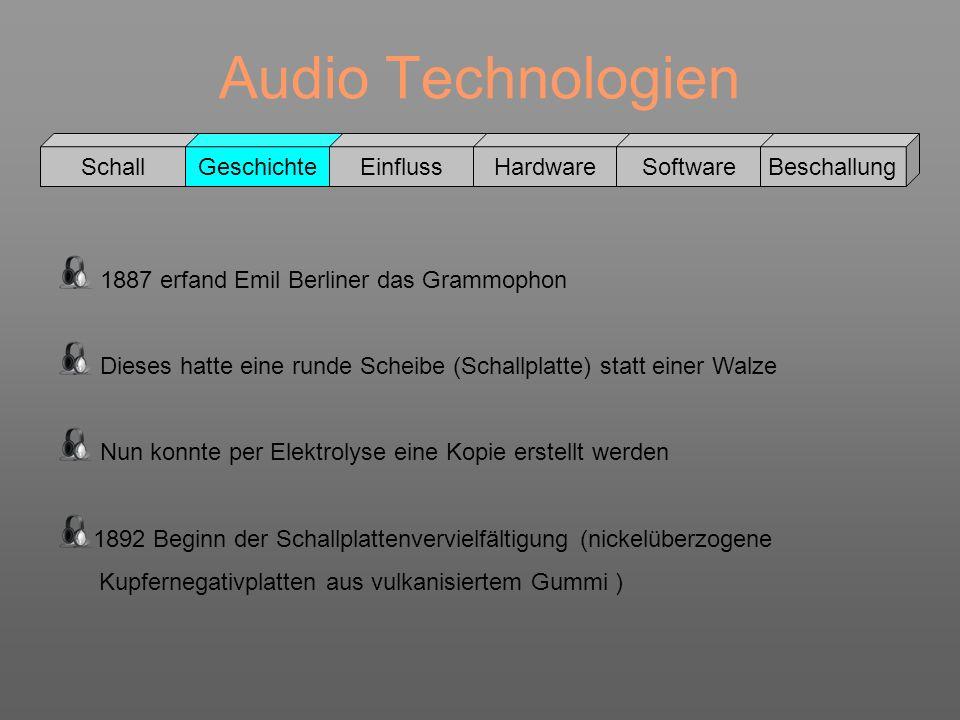 Audio Technologien Schall GeschichteEinflussHardwareSoftwareBeschallung Grammophone konnten nicht als Recorder verwendet werden 1895 Schellack wird zur Schallplattenproduktion verwendet Ab 1900 konnten Schallplatten beidseitig bespielt werden Original Beispiel: