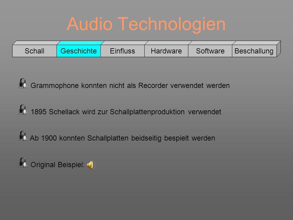 Audio Technologien Schall GeschichteEinflussHardwareSoftwareBeschallung Grammophone konnten nicht als Recorder verwendet werden 1895 Schellack wird zu