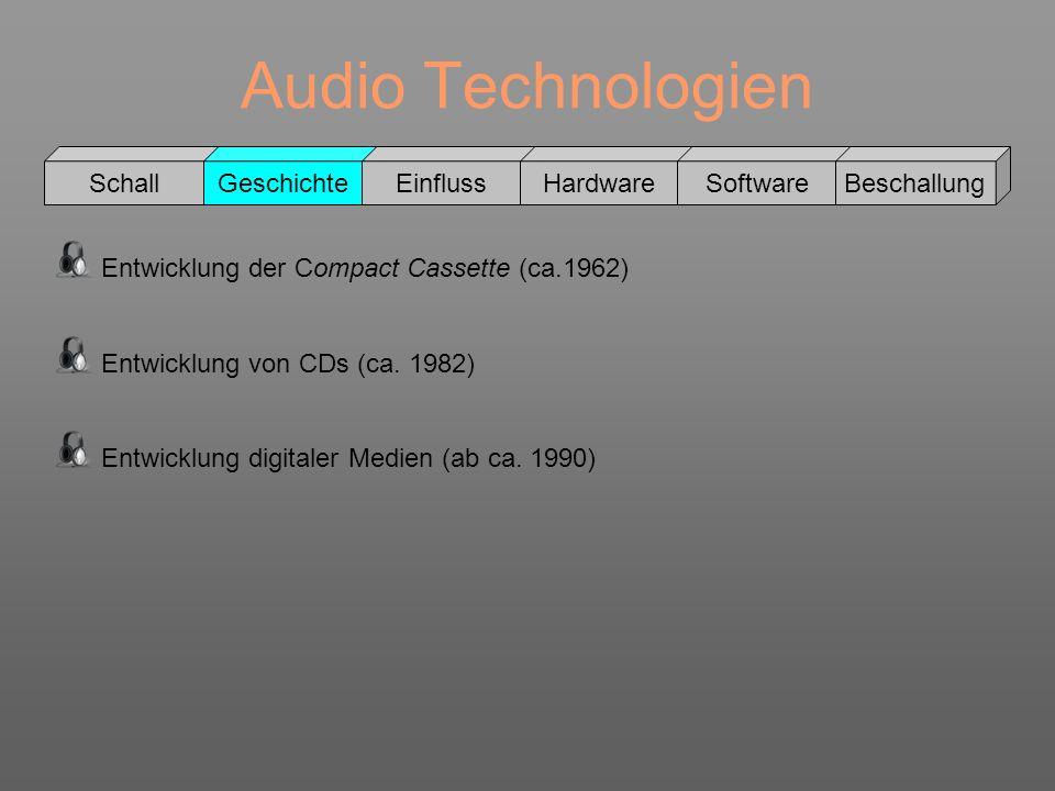 Audio Technologien Schall GeschichteEinflussHardwareSoftwareBeschallung Entwicklung der Compact Cassette (ca.1962) Entwicklung von CDs (ca. 1982) Entw