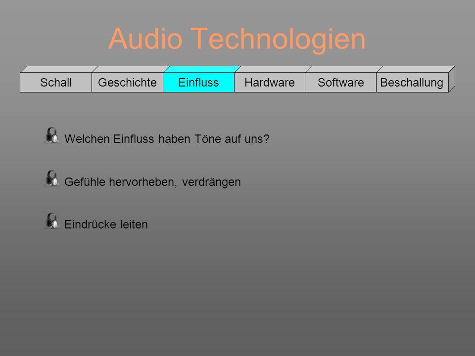 Audio Technologien Schall GeschichteEinflussHardwareSoftwareBeschallung Welchen Einfluss haben Töne auf uns? Gefühle hervorheben, verdrängen Eindrücke