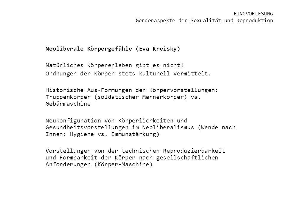 RINGVORLESUNG Genderaspekte der Sexualität und Reproduktion Neoliberale Körpergefühle (Eva Kreisky) Natürliches Körpererleben gibt es nicht! Ordnungen