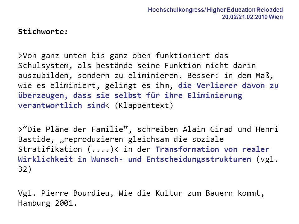 Hochschulkongress/ Higher Education Reloaded 20.02/21.02.2010 Wien Stichworte: >Von ganz unten bis ganz oben funktioniert das Schulsystem, als beständ