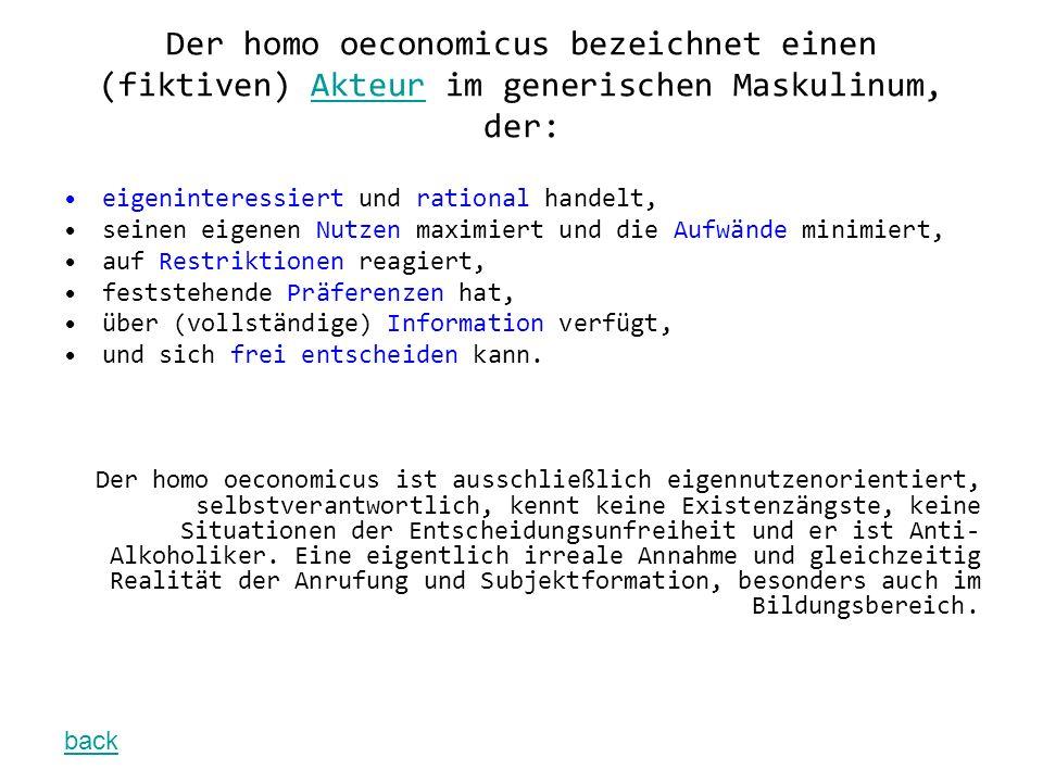 Der homo oeconomicus bezeichnet einen (fiktiven) Akteur im generischen Maskulinum, der:Akteur eigeninteressiert und rational handelt, seinen eigenen N