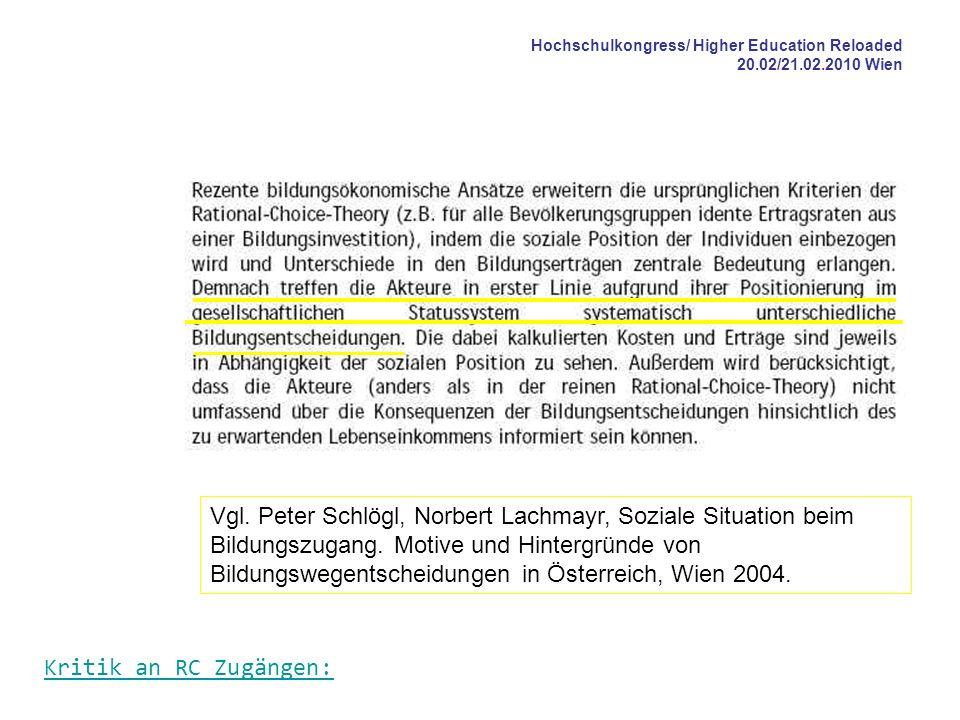 Hochschulkongress/ Higher Education Reloaded 20.02/21.02.2010 Wien Vgl. Peter Schlögl, Norbert Lachmayr, Soziale Situation beim Bildungszugang. Motive
