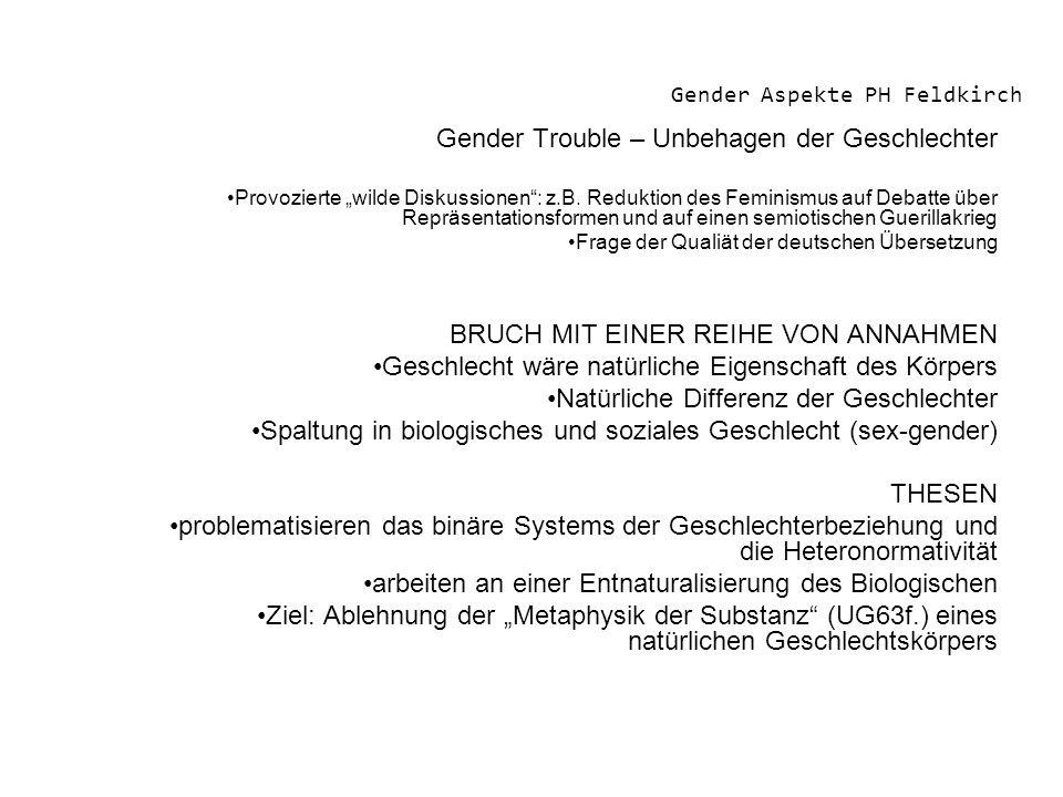 Gender Aspekte PH Feldkirch Gender Trouble – Unbehagen der Geschlechter Provozierte wilde Diskussionen: z.B. Reduktion des Feminismus auf Debatte über