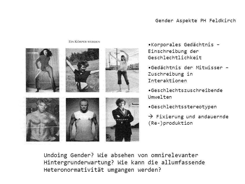 Gender Aspekte PH Feldkirch Korporales Gedächtnis – Einschreibung der Geschlechtlichkeit Gedächtnis der Mitwisser – Zuschreibung in Interaktionen Gesc