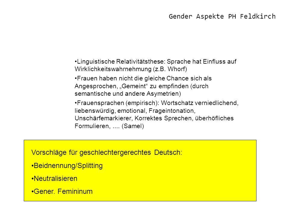 Gender Aspekte PH Feldkirch Linguistische Relativitätsthese: Sprache hat Einfluss auf Wirklichkeitswahrnehmung (z.B.