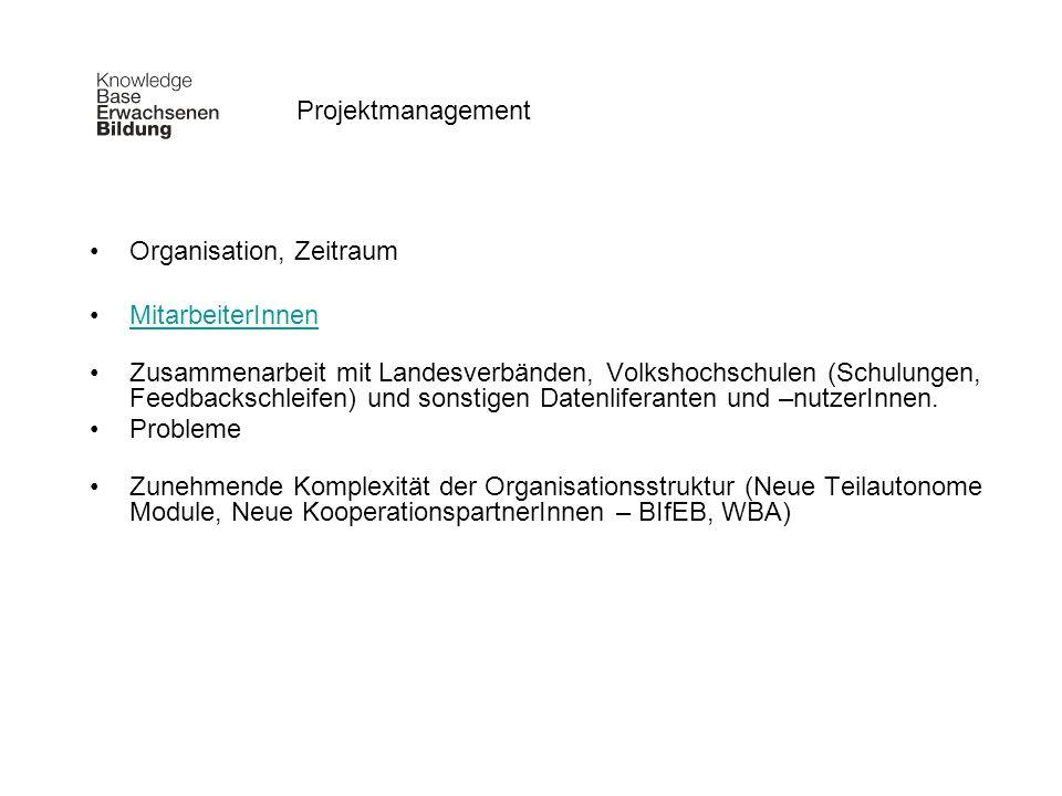 Organisation, Zeitraum MitarbeiterInnen Zusammenarbeit mit Landesverbänden, Volkshochschulen (Schulungen, Feedbackschleifen) und sonstigen Datenlifera