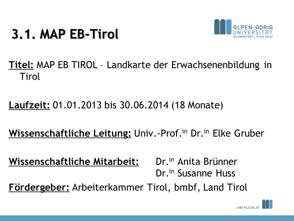3.1. MAP EB-Tirol Titel: MAP EB TIROL – Landkarte der Erwachsenenbildung in Tirol Laufzeit: 01.01.2013 bis 30.06.2014 (18 Monate) Wissenschaftliche Le