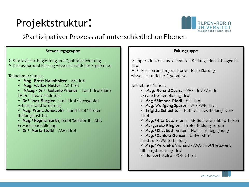 Projektstruktur : Partizipativer Prozess auf unterschiedlichen Ebenen Steuerungsgruppe Strategische Begleitung und Qualitätssicherung Diskussion und K