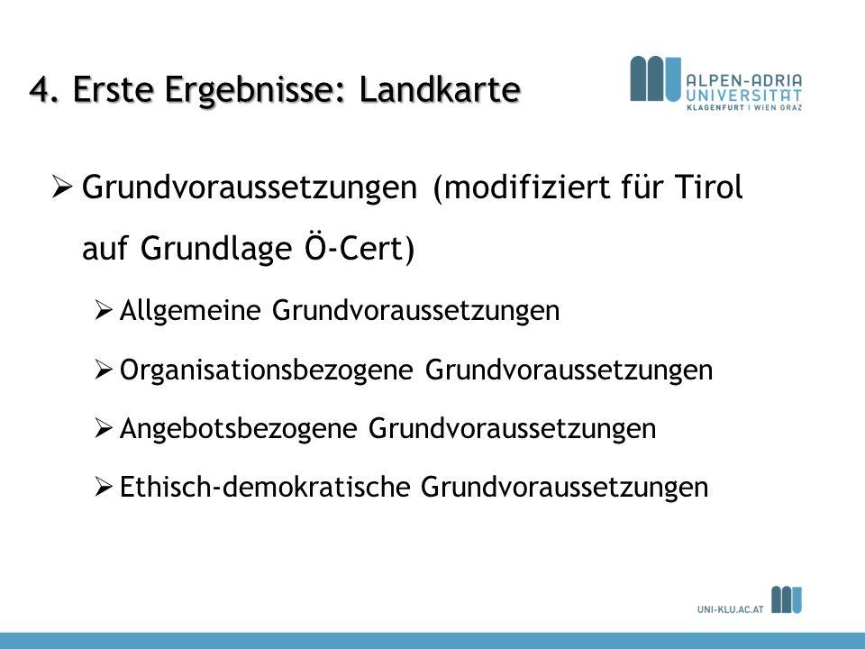 4. Erste Ergebnisse: Landkarte Grundvoraussetzungen (modifiziert für Tirol auf Grundlage Ö-Cert) Allgemeine Grundvoraussetzungen Organisationsbezogene