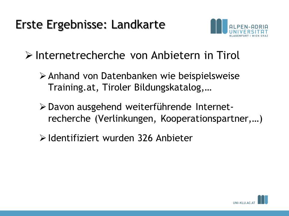 Erste Ergebnisse: Landkarte Internetrecherche von Anbietern in Tirol Anhand von Datenbanken wie beispielsweise Training.at, Tiroler Bildungskatalog,…