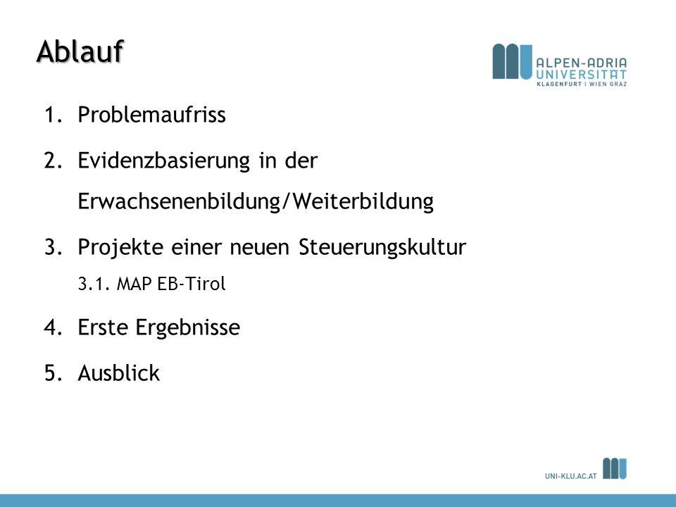 Ablauf 1.Problemaufriss 2.Evidenzbasierung in der Erwachsenenbildung/Weiterbildung 3.Projekte einer neuen Steuerungskultur 3.1. MAP EB-Tirol 4.Erste E