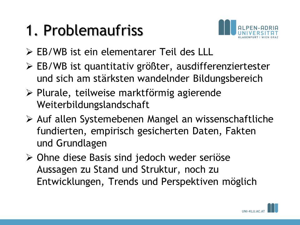 1. Problemaufriss EB/WB ist ein elementarer Teil des LLL EB/WB ist quantitativ größter, ausdifferenziertester und sich am stärksten wandelnder Bildung