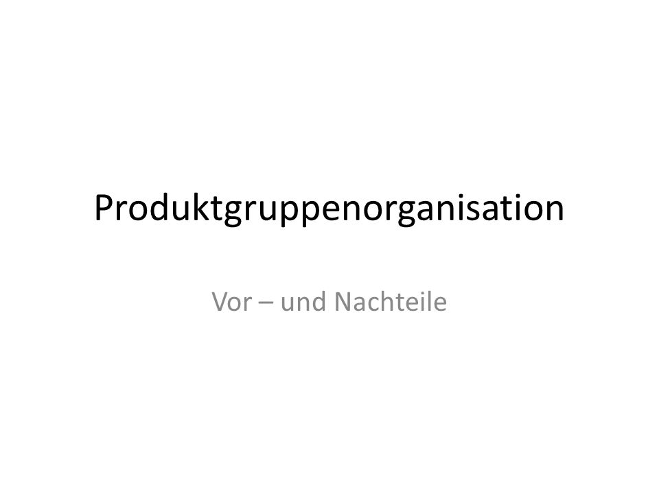Produktgruppenorganisation Vor – und Nachteile